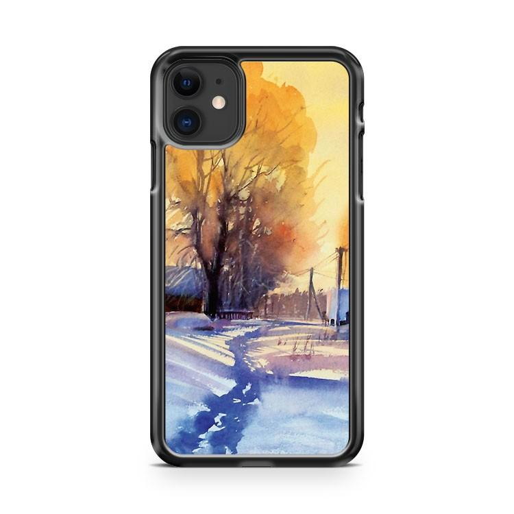 Winter light Village Russia iphone 5/6/7/8/X/XS/XR/11 pro case cover