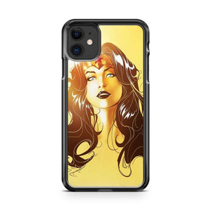 Wonder Woman Face Yellow BG iphone 5/6/7/8/X/XS/XR/11 pro case cover