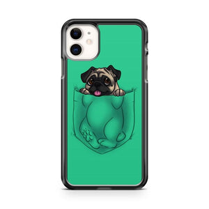 pug In Green Pocket iphone 5/6/7/8/X/XS/XR/11 pro case cover