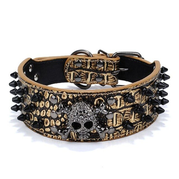 Spiked Skull Studded PU Leather Collar