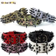 "2"" Width Spike Studded Strong Leather Dog Collars"