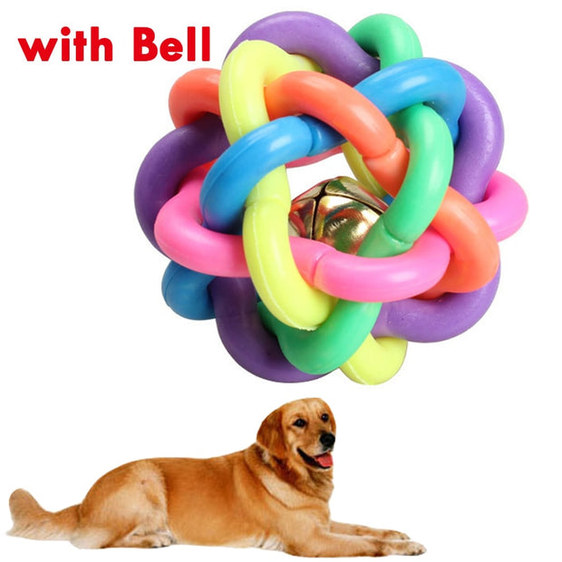 5cm Colorful Rainbow Pet Bell Ball Dog Toy