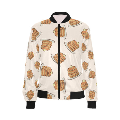 Pancake Pattern Print Design A01 Women Bomber Jacket