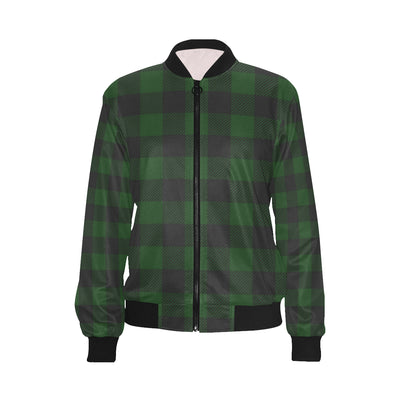 Buffalo check Green Pattern Print Design 02 Women Bomber Jacket