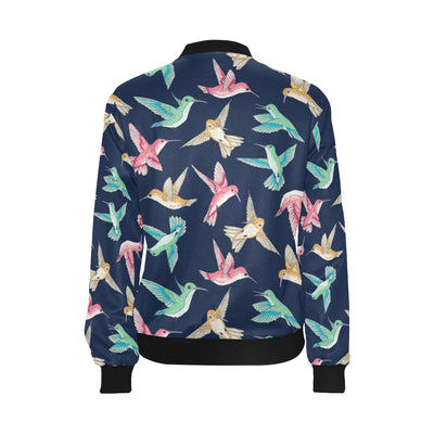 Hummingbird Cute Pattern Print Design 01 Women Bomber Jacket