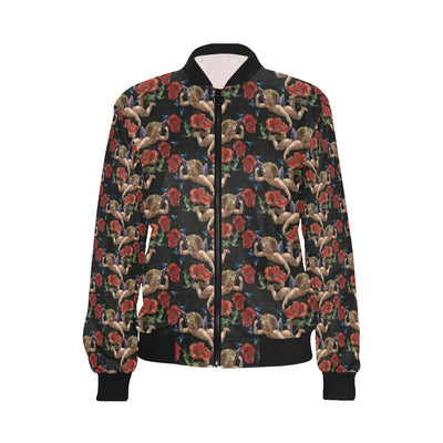 Cupid Pattern Print Design 05 Women Bomber Jacket