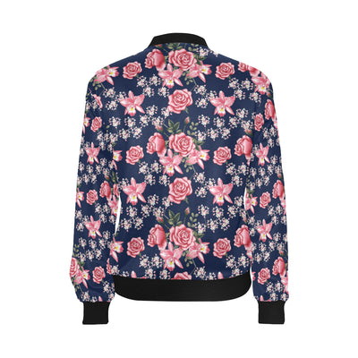 Rose Pattern Print Design A05 Women Bomber Jacket
