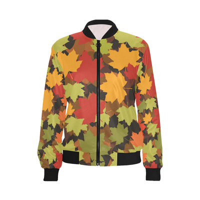 Maple Leaf Pattern Print Design 05 Women Bomber Jacket