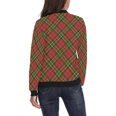 Plaid Holiday Pattern Print Design A01 Women Bomber Jacket