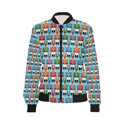 Nutcracker Pattern Print Design A02 Women Bomber Jacket