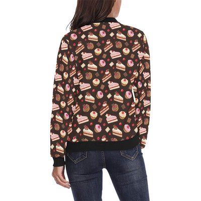 Cake Pattern Print Design 04 Women Bomber Jacket