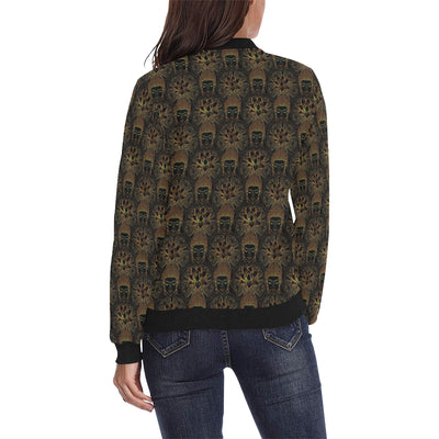 Buddha Pattern Print Design 03 Women Bomber Jacket