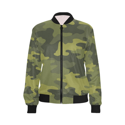 Military Camouflage Pattern Print Design 02 Women Bomber Jacket