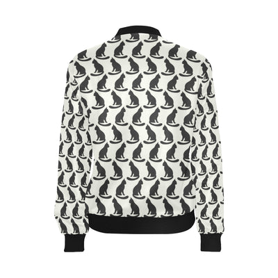 Black Cat Pattern Print Design 02 Women Bomber Jacket