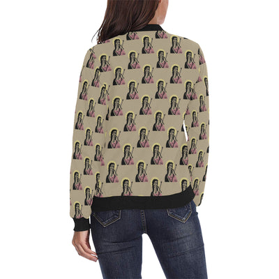 Christian Pattern Print Design 04 Women Bomber Jacket