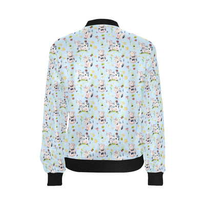 Cow Happy Pattern Print Design 05 Women Bomber Jacket