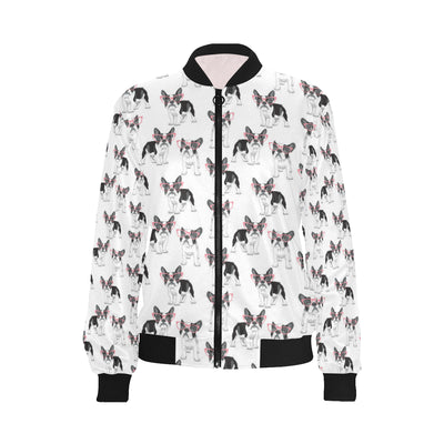 Boston Terrier Pattern Print Design 03 Women Bomber Jacket