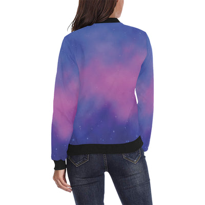 Nebula Pattern Print Design A05 Women Bomber Jacket
