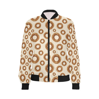 Bagel Pattern Print Design 01 Women Bomber Jacket