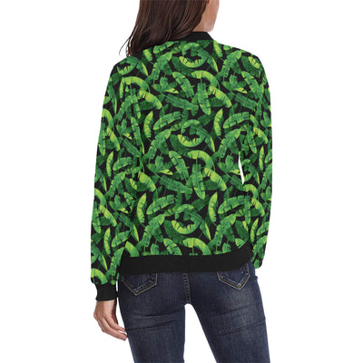 Banana Leaf Pattern Print Design 02 Women Bomber Jacket