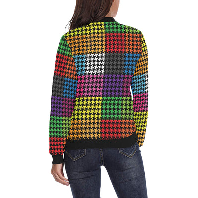 Houndstooth Colorful Pattern Print Design 01 Women Bomber Jacket