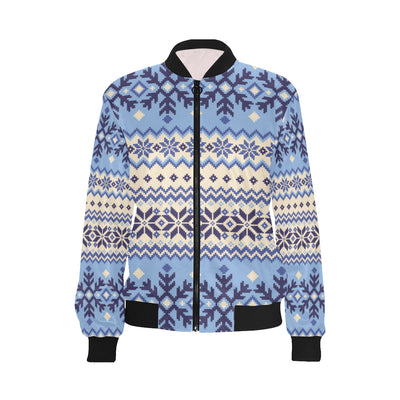 Nordic Pattern Print Design A03 Women Bomber Jacket