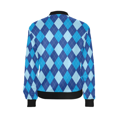 Argyle Blue Pattern Print Design 02 Women Bomber Jacket