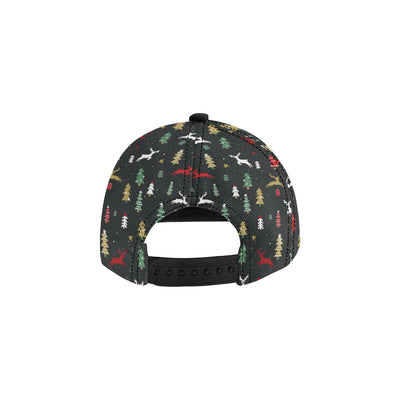Christmas Tree Deer Style Pattern Print Design 03 Snapback Hat