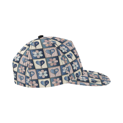 Patchwork Heart Flower Pattern Print Design 01 Snapback Hat
