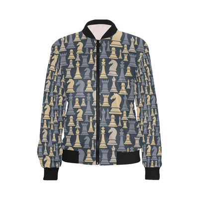 Chess Pattern Print Design 04 Women Bomber Jacket