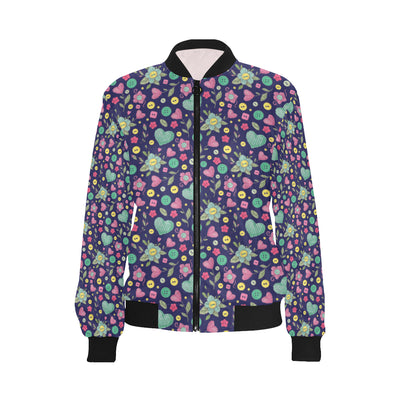 Crochet Pattern Print Design 02 Women Bomber Jacket
