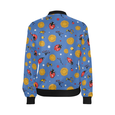 Ladybug Pattern Print Design 05 Women Bomber Jacket