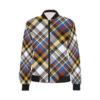 Madras Pattern Print Design 01 Women Bomber Jacket
