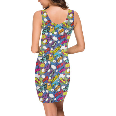 Comic Book Pattern Print Design 02 Mini Dress