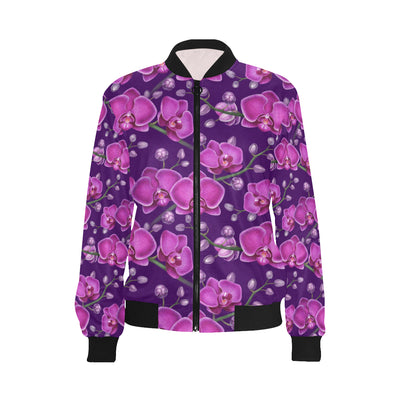 Orchid Pattern Print Design A03 Women Bomber Jacket