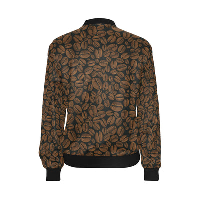 Coffee Pattern Print Design 01 Women Bomber Jacket