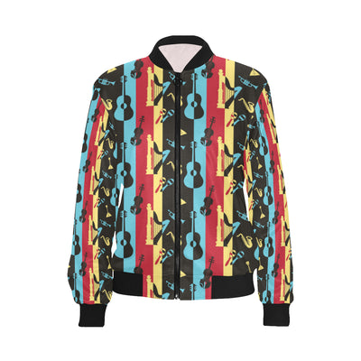 Jazz Pattern Print Design 02 Women Bomber Jacket