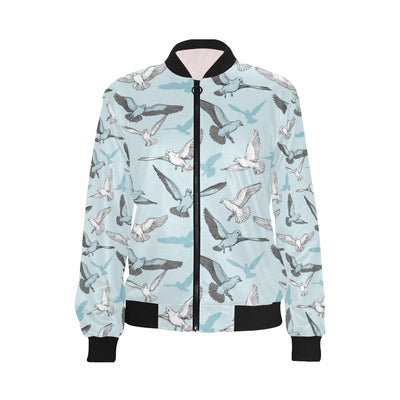 Pigeon Pattern Print Design 03 Women Bomber Jacket
