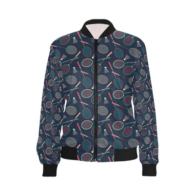 Badminton Pattern Print Design 03 Women Bomber Jacket