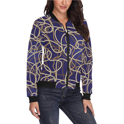 Rope Pattern Print Design A01 Women Bomber Jacket