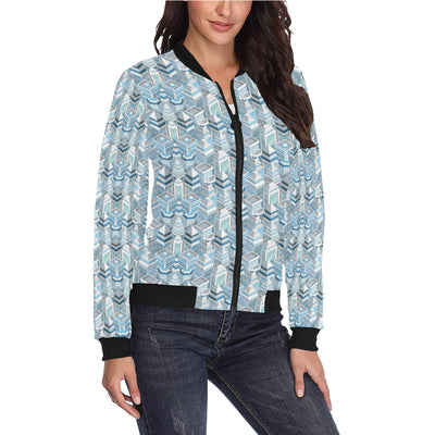 City  Pattern Print Design 03 Women Bomber Jacket