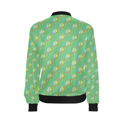 Budgerigar Pattern Print Design 01 Women Bomber Jacket