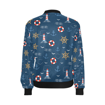 Nautical Pattern Print Design A06 Women Bomber Jacket