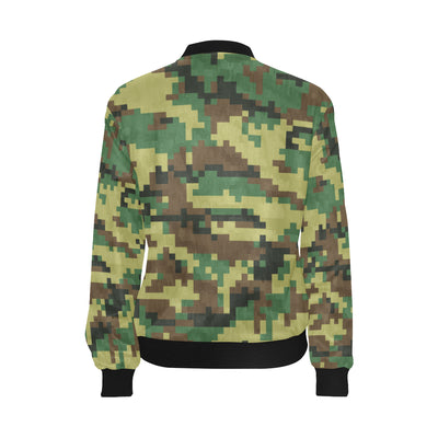ACU Army Digital Pattern Print Design 02 Women Bomber Jacket