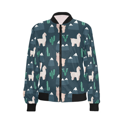 Llama Pattern Print Design 06 Women Bomber Jacket
