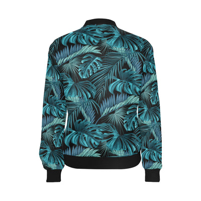 Palm Leaf Pattern Print Design A03 Women Bomber Jacket