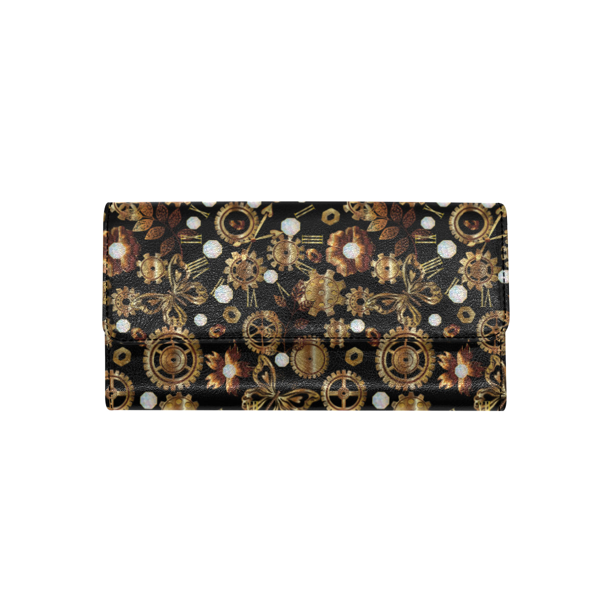 Steampunk Butterfly Design Themed Print Women Trifold Wallet