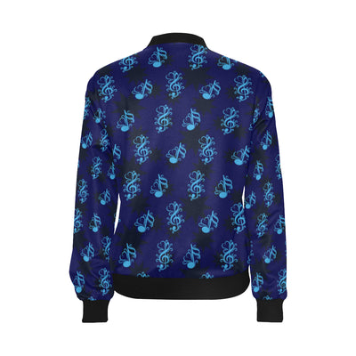 Music note Pattern Print Design A04 Women Bomber Jacket