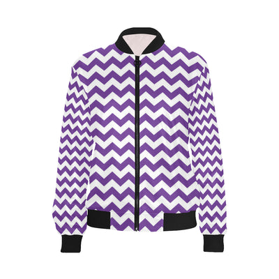 Chevron Purple Pattern Print Design 03 Women Bomber Jacket