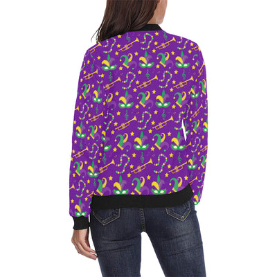 Mardi Gras Pattern Print Design 06 Women Bomber Jacket